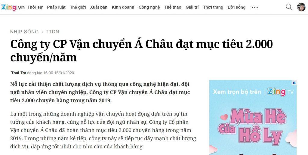 Báo Zing.vn nói gì về công ty Á Châu